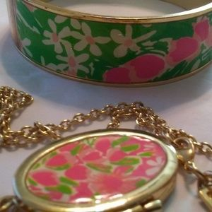 Lily Pulitzer Locket Pendant and Matching Bracelet
